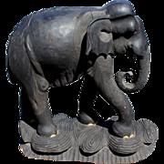 SALE PENDING Large Ebonized Carved Wooden Elephant
