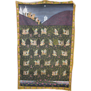 19th / 20th c Persian Painting on Cloth with Trees and Figures