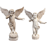 Pair of Italian Carved Wooden Angels with Wings