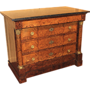 19th c French Marble Top Chest of Drawers with Burled Walnut Veneers