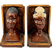 Pair of Hand Painted Plaster Folk Art African Figural Bookends