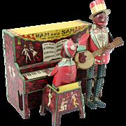 """Ferdinand Strauss Co Ham & Sam """"The Minstrel Team"""" Tin Wind-Up Toy circa 1921"""