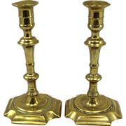 Pair of English Early 18th c George I Brass Candlesticks