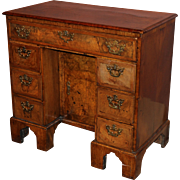 George I Period Walnut Kneehole Desk with Pull-Out Secretaire Drawer, Circa 1720
