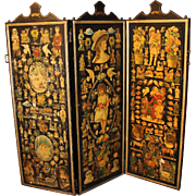 """Victorian Découpage Three-Part Room Screen, """"Home Sweet Home"""""""