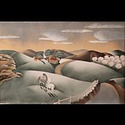 Benjamin Jorj Harris Watercolor Painting Pastoral Scene with Horses