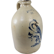 SOLD J & E Norton Bennington VT 2 Gallon Stoneware Jug with Pheasant Decoration