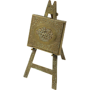 SALE W. Avery & Son Redditch English Victorian Brass Easel Floral Needle Case