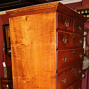 Tiger Maple Highboy or High Chest Attributed to Moses Hazen, circa 1785-1805