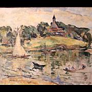 William Meyerowitz Landscape Oil Painting of Gloucester, Massachusetts