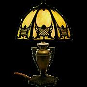 Slag Glass Metal Table Lamp with Urn Form Base circa 1920