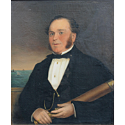 Oil Painting Portrait of a Sea Captain, Castine Maine dated 1855