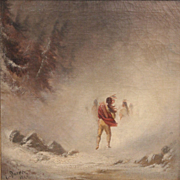 E. Darwen Oil Painting of Native Americans in a Storm dated 1867