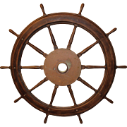 19th c Large Wooden & Brass Ship's Wheel