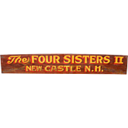 """Four Sisters II"" Vintage Painted Wooden Boat Sign New Castle, NH"