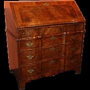 18th Century Blocked Serpentine Front Queen Anne Burled Walnut Slant Front Desk
