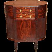 Rare Sheraton Mahogany Sewing Stand with Simulated Tambour Doors