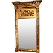 Sheraton Gilt Wood Mirror with Grape Leaf Decoration