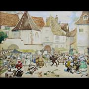 SALE André Victor Édouard Devambez Watercolor Gouache Painting of a Village Market
