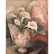 Louise Brassell Lehman Still Life Oil Painting of Calla Lilies