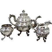 19th c Three Piece F. Marquand Sterling Silver Tea Service  sold by Bigelow & Kennard