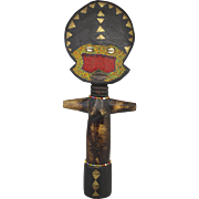 SOLD 19 Inch 20th c Ghana Wooden Folk Art Fertility Figure with Beadwork