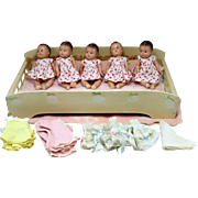 Madame Alexander Dionne Quintuplets Composition Doll Set with Bed 1940's