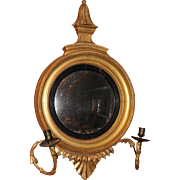 Diminutive Giltwood Girandole Convex Mirror or Looking Glass