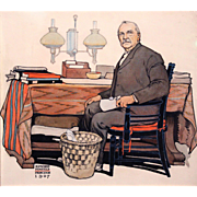 SOLD Edward Penfield Watercolor & Ink Painting of President Grover Cleveland 1907