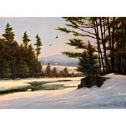 William R. Davis Landscape Oil Painting - Winter at Jackson Falls, NH