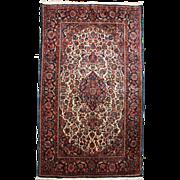 Ivory Keshan Scatter Rug or Carpet circa 1930