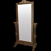 Hollywood Regency Brass Bound Cheval Mirror