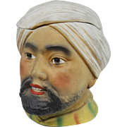 SALE Arab Man with Turban Polychrome Figural Porcelain Bisque Humidor