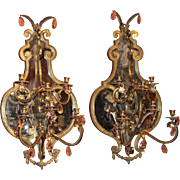Pair of Gilt Bronze Mirrored Sconces, Probably Italian