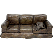 Kay Warden Bronze Sculpture of a Dog on a Sofa 1989