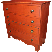 SALE 19th c Two Drawer Red Painted Blanket Chest with Cyma Shaped Skirt