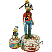 Disney Donald Duck Duet Marx Tin Wind Up Toy circa 1946 with Goofy