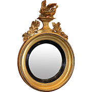 Early 19th c Diminutive Girandole Giltwood Mirror with Dragon Motif