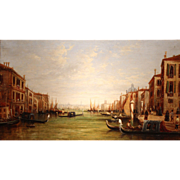 19th c Venetian Oil Painting of the Grand Canal