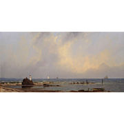 William R. Davis Marine Oil Painting - Distant Ships