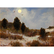 William R. Davis Landscape Oil Painting - Moonlight Dunes