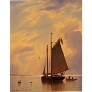 William R. Davis Marine Oil Painting - Waiting For The Tide