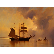 William R. Davis Marine Oil Painting - Passing Showers