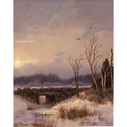 William R. Davis Winter Landscape Oil Painting - Old Stone Bridge