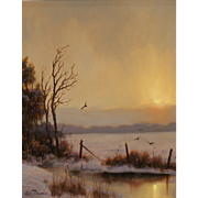 William R. Davis Winter Landscape Oil Painting - Winter Crows