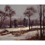 William R. Davis Plein Air Landscape Oil Painting - Snowy Mountainside, Franconia NH