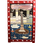 """Binford Taylor """"Benny"""" Carter Jr. Folk Art Acrylic Painting of NYC - Freedom for All"""