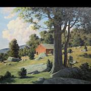 Bertram George Bruestle Oil Painting Summer Landscape with Barn