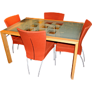 Ligne Roset Extensia Modern Dining Table Set with Four Chairs