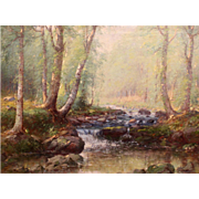 Joseph H. Greenwood Oil Painting Landscape of Woodland Stream